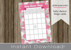 Baby Shower Bingo Game Cards pink hydrangeas girl INSTANT DOWNLOAD diy digital printable file print your own , babyshower