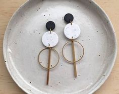 Brass Circle Stick Earrings in a two tone colourway - Jet Black & White Granite