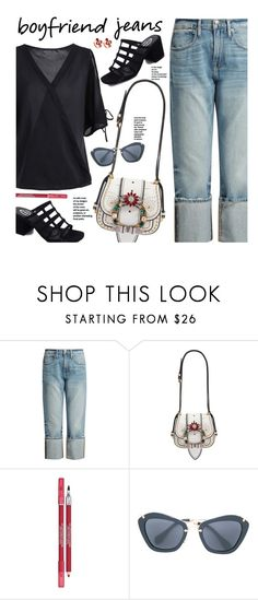 """""""Borrowed from the Boys: Boyfriend Jeans"""" by beebeely-look ❤ liked on Polyvore featuring Frame, Miu Miu, Lancôme, StreetStyle, boyfriendjeans, sammydress and streetwear"""