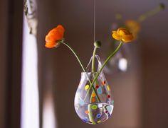 Hanging Glass Vase / Blown Glass Wall Vase / Polka by AvolieGlass, $50.00