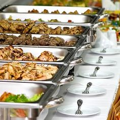 There are 4 popular serving styles for wedding reception. Plated dinner, Buffet, Food Stations, and Family style Wedding Buffet Food, Wedding Reception Food, Wedding Catering, Wedding Ideas, Wedding Foods, Food Buffet, Buffet Tables, Buffet Ideas, Reception Ideas