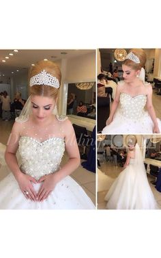 Popular Cheap Luxury Rhinestone Illusion Beaded Tulle Wedding Party Dresses The long prom dresses are fully lined, 4 bones in the bodice, chest pad in the bust 2016 Wedding Dresses, Bridal Dresses, Wedding Gowns, Prom Dresses, Civil Wedding, Dresses 2016, Cheap Dresses, Beaded Dresses, Star Wedding