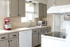 Chalk Painted Cabinets in French Linen with White Appliances