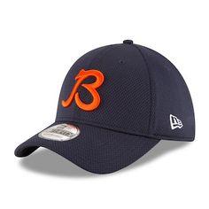 3e6267326b34f Men s Chicago Bears New Era Navy Sideline B Logo Tech 39THIRTY Flex Hat