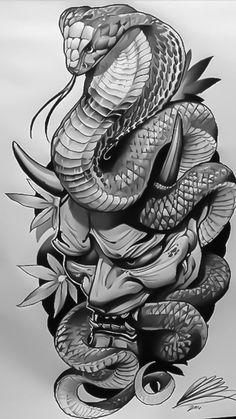 Japanese Snake Tattoo Drawings Pin By Дмитрий Оксён On Тату Hannya Maske Tattoo, Oni Tattoo, Hanya Tattoo, Samurai Tattoo, Devil Tattoo, Asian Tattoos, Leg Tattoos, Body Art Tattoos, Sleeve Tattoos
