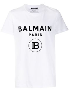 Balmain logo print T-shirt - White Balmain Men, Touch And Feel Book, Printed Shirts, Tee Shirts, Swag Outfits For Girls, Casual Outfits, Parisian Style, Fashion Brand, Men's T Shirts