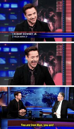 "RDJ's wink to Jon Stewart as they talked about whether he would return in an ""Iron Man 4."""
