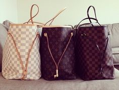 Louis Vuitton Neverfull bags in Damier Azur, Monogram and Damier Ebene #RFConvention