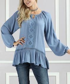 Look at this #zulilyfind! Denim Blue Lace-Trim Peasant Top - Plus Too by Suzanne Betro #zulilyfinds