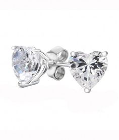 Rhodium Plated Diamond Color Heart 6mm Stud Earrings made with Swarovski Crystals. #Glimmering #swarovskistudearrings #swarovskistuds #swarovskiearrngsstuds Shop Now: http://www.glimmering.co.in/earrings/swarovski-stud-earrings.html