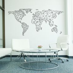 Polygonal geometrical world map wall decal sticker vinyl wall art network world map wall decal gumiabroncs Image collections