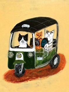 "Illustration by pepe shimada, ""Bangkok TUKTUK Cat""."