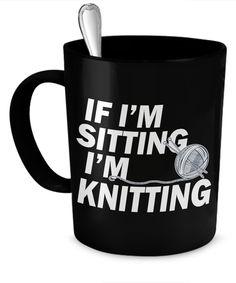 Sitting and Knitting mug  #gift#knitting $19.95