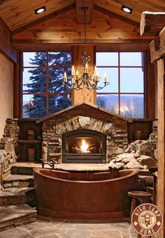 bathrooms with fireplaces | How about this bathtub? Amazing work by High Camp Home, Truckee CA.