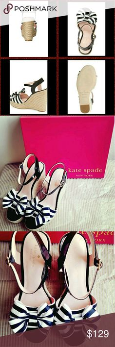 """Kate Spade New York Darya  Patent Leather Wedges This flirty sandal features a jute-wrapped wedge heel and platform topped by a feminine denim bow and a glossy patent-leather ankle strap.  - 4 1/4"""" heel; 1"""" platform (size 8.5) - Adjustable ankle strap with buckle closure - Textile upper/leather lining and sole  Stripes done right!!! ;) kate spade Shoes Wedges"""