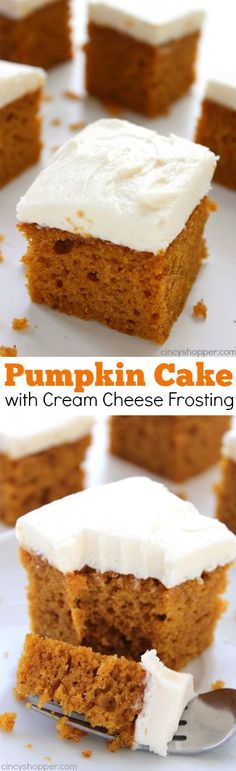 This homemade Pumpkin Cake with Cream Cheese Frosting recipe will make for a perfect fall dessert. This super moist cake is so easy to whip up for Thanksgiving or a holiday party. The flavors combine so well and make for a over the top delicious dessert. Brownie Desserts, Mini Desserts, Fall Desserts, Just Desserts, Delicious Desserts, Dessert Recipes, Yummy Food, Recipes Dinner, Dinner Ideas