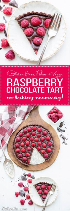 ThisNo-Bake Raspberry Chocolate Tartcomes together in just ten minutes! The no-bake chocolate crust is filled with vegan chocolate ganache and topped with fresh raspberries for a decadent, guilt-free treat.