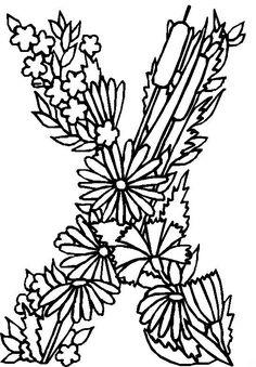 coloring page alphabet flowers alphabet flowers