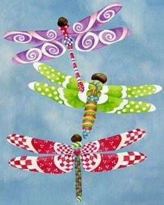 8x10 Art Print. Dragonflies Fly Freely. Artwork by Jennifer Lambein