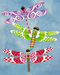 8x10 Art Print. Dragonflies Fly Freely. Artwork by Jennifer Lambein