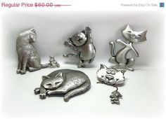 5 JJ Cats Lot Pins sleeping happy mouse by dollherup on Etsy, $49.00