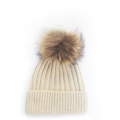 Wool Bobble Hat Beige ( 46) ❤ liked on Polyvore featuring accessories c353867e7b27