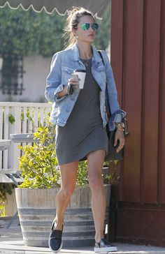 Back to the daily grind: Alessandra Ambrosio headed out for a coffee and to run errands in Brentwood, California on Thursday afternoon after jetting back from New York earlier that morning