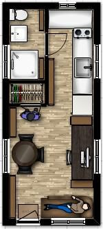 Tiny House Floor Plans. I am assuming there is a ladder somewhere to a loft bedroom. I like the layout otherwise. However for my money, there is a little redundancy in having a large desk AND a pretty good sized dining table. I do love the deep though small footprint soaking tub/shower.