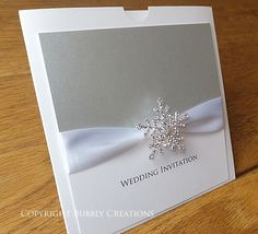 Winter Wedding Invitation with Crystal Snowflake and Ribbon. Handmade and Personalised in Silver. SAMPLE