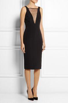 Haney|Liz lace-paneled stretch-silk dress|NET-A-PORTER.COM