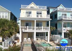 Beach Boys South is a seven-bedroom, seven-and-a-half-bath oceanfront beach house six blocks from the Surfside Beach Pier.