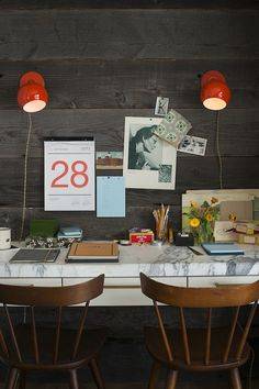 love the marble desktop + rustic wall