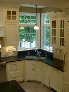 New Kitchen Corner Sink Layout Open Cabinets Ideas Kitchen Sink Decor, Corner Sink Kitchen, Kitchen Sink Design, Kitchen Cabinet Layout, Kitchen Redo, Kitchen Styling, Kitchen Furniture, New Kitchen, Kitchen Remodel