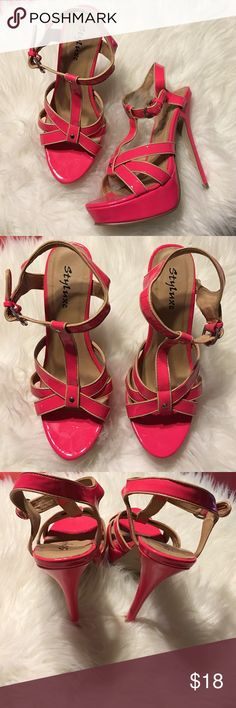 Hot Pink Open Toe Sandals in Size 7.5 Used one time and in almost perfect condition. They honestly look brand new! Shoes Sandals