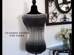 Como hacer una Blusa Calada tejida en dos agujas paso a paso - YouTube