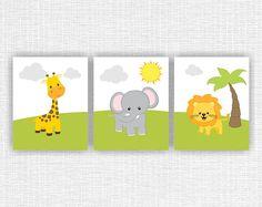 Nursery Printable Jungle Animals Wall Art set, Elephant, Giraffe, Lion, Room Playroom Decor Art Set of 3, 8x10, Animals INSTANT DOWNLOAD