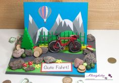 Card for coupon or money gifts designed nicely on the theme: Bicycle, Fa . Balloon Rides, Hot Air Balloon, Explosion Box, Stamping Up, Balloon Decorations, Concept Cars, Coupons, Balloons, Bicycle