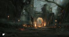 Gate to Hata Zukal, Titus Lunter on ArtStation at https://www.artstation.com/artwork/PoKr