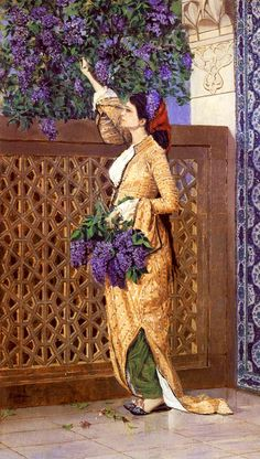 Woman Picking Liliac by Turkish Orientalist Painter Osman Hamdi Bey Arabian Art, Foto Poster, Turkish Art, Pictures To Paint, Islamic Art, Female Art, Art History, Art Gallery, Illustration Art