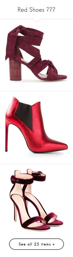 """Red Shoes 👞❤️"" by izzystarsparkle ❤ liked on Polyvore featuring shoes, sandals, heels, zapatos, tie sandals, burgundy shoes, suede lace up sandals, heeled sandals, lace up high heel sandals and boots"