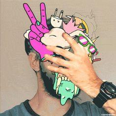 lunes, kidmograph, pop art, facepalm, AR, man, designer, hipster, watches, digital art, weird shit, drug addict, loop