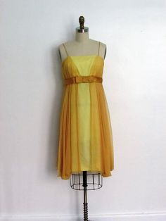 1960s yellow chiffon party dress  vintage 60s by VivianVintage8