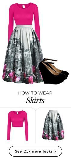"""""""Pink, Gray & Black Skirt outfit."""" by allisonhunter12 on Polyvore featuring LE3NO, Chicwish, women's clothing, women, female, woman, misses and juniors"""