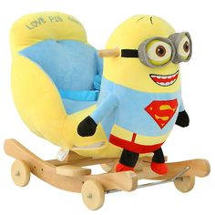 kingtoy plush minion character childrens musical multifunctional rocking horse baby nursery cool bee animal rocking horse