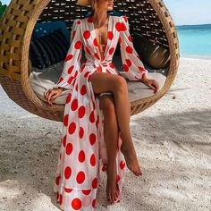 Shop Polka dot beach dress online with high quality and hurry to get fashion on ininrubyclub.com quickly. Latest Fashion Clothes, Look Fashion, Fashion Outfits, 90s Fashion, Beach Dresses Online, Dress Online, Polka Dot Print, Polka Dots, Maxi Dress With Sleeves