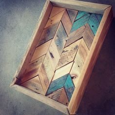 handmade herringbone tray from reclaimed wood....coming soon to my etsy shop!!  www.etsy.com/shop/emlaurenVO