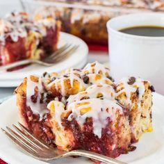Strawberry Chocolate Cinnamon Roll Bake