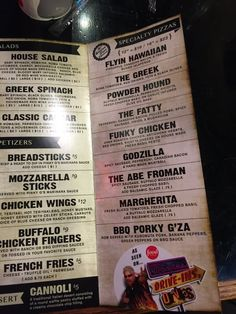 Pinky G's Pizzeria - 111 Photos & 228 Reviews - Pizza - 50 W Broadway, Jackson, Wyoming (WY)  - Restaurant Reviews - Phone Number >> Pictured: Specialty Pizza Menu - As seen on Triple Ds! Diners, Drive-Ins and Dives - Yelp