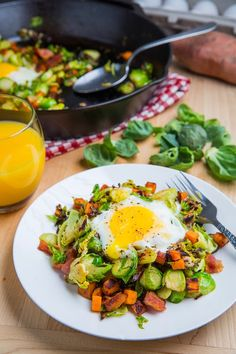 Brussels Sprout Hash with Sweet Potato and Bacon (omit the bacon for vegetarion version)