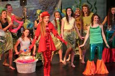 "The sea chorus, mermaid sisters, and Sebastian in Disney's ""The Little Mermaid, Jr. """